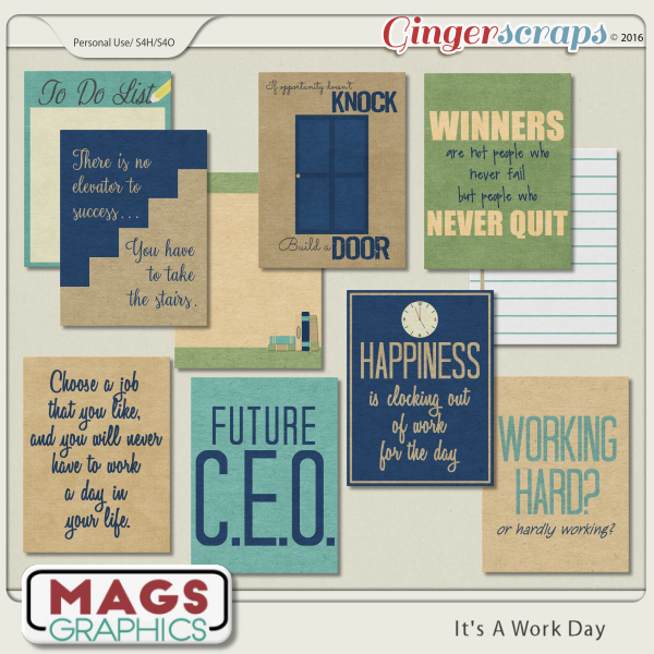 It's A Work Day JOURNAL CARDS by MagsGraphics