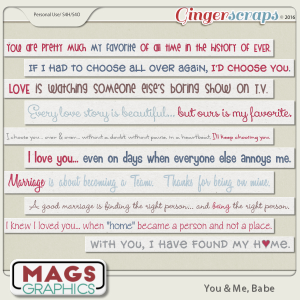 You & Me, Babe QUOTE STRIPS by MagsGraphics