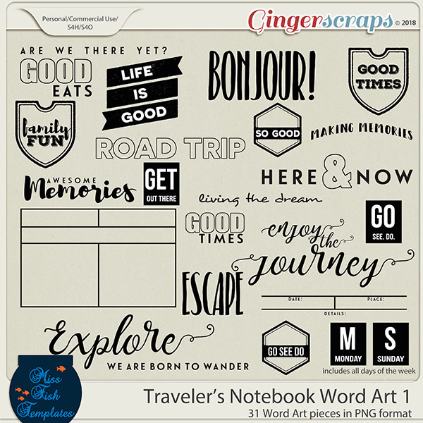 Traveler's Notebook Word Art 1 by Miss Fish Templates