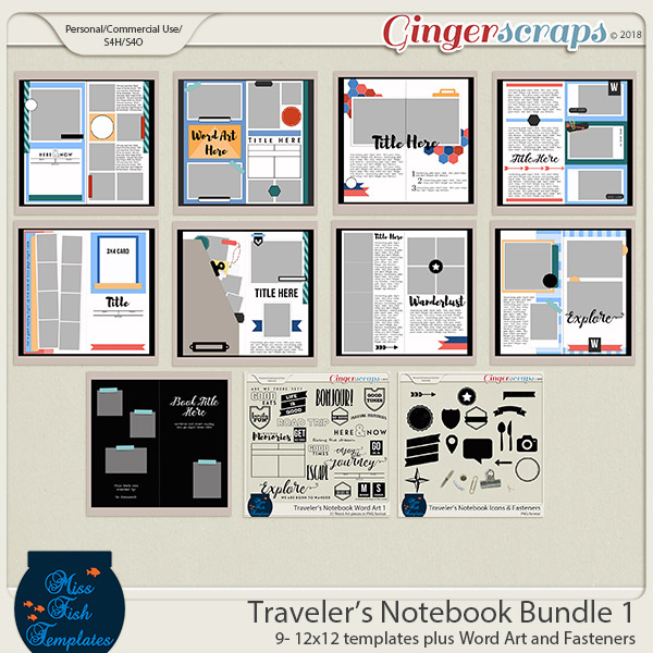 Traveler's Notebook Bundle 1 by Miss Fish Templates