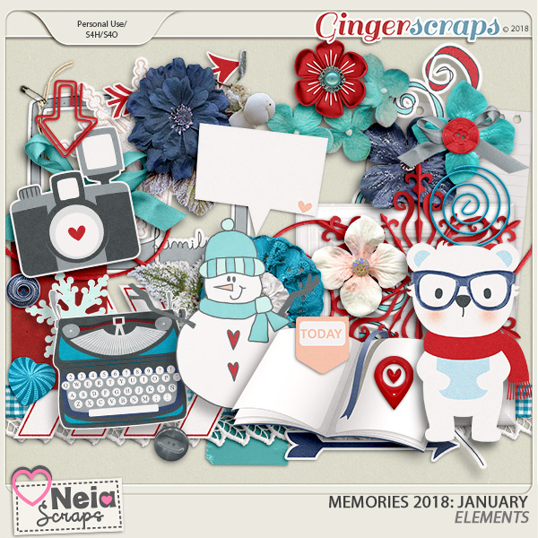 Memories 2018 - January - Elements - By Neia Scraps
