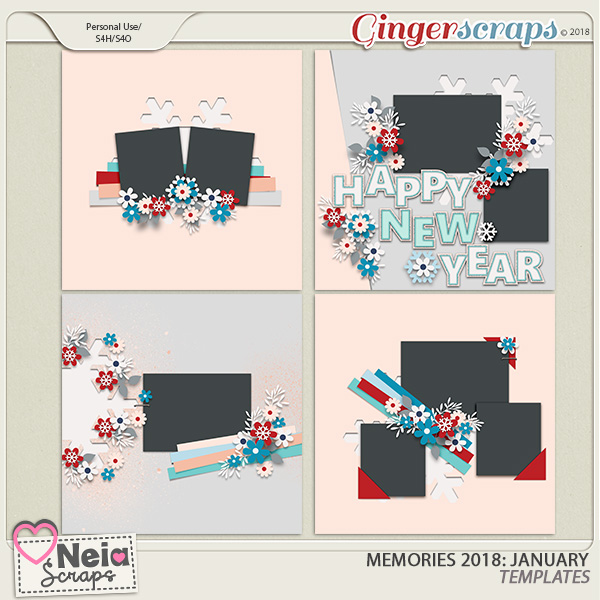Memories 2018 - January - Templates - By Neia Scraps