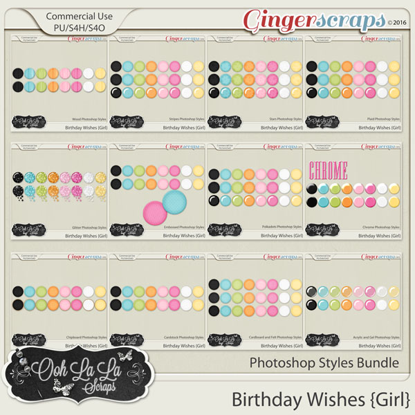 Birthday Wishes Girl CU Photoshop Styles Bundle