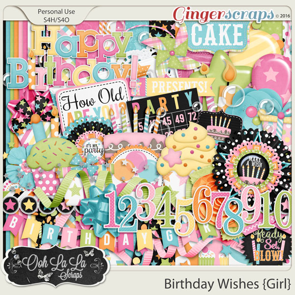 Birthday Wishes Girl Digital Scrapbooking Kit