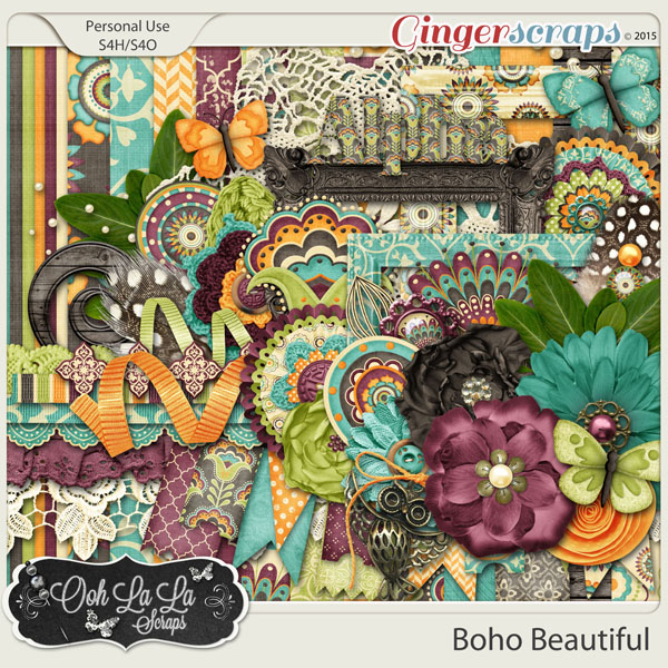 Boho Beautiful Digital Scrapbooking Kit