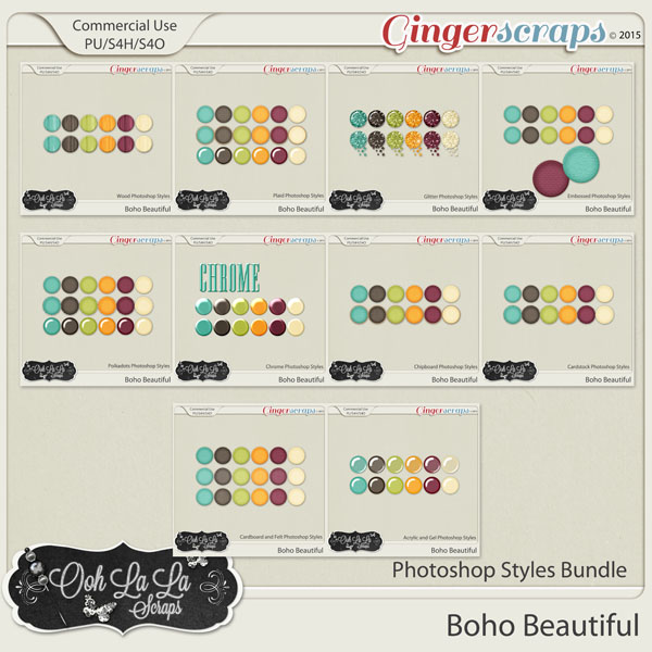 Boho Beautiful CU Photoshop Styles Bundle