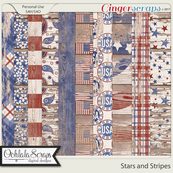 Stars and Stripes Worn Wood Papers