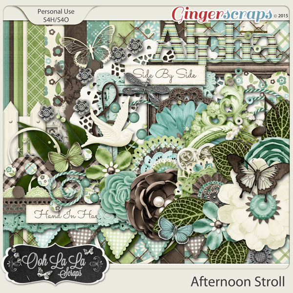 Afternoon Stroll Digital Scrapbooking Page Kit