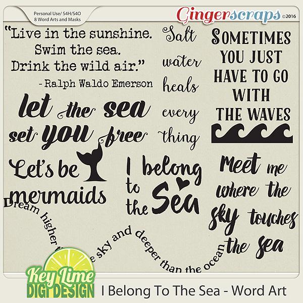 I Belong to the Sea - Word Art