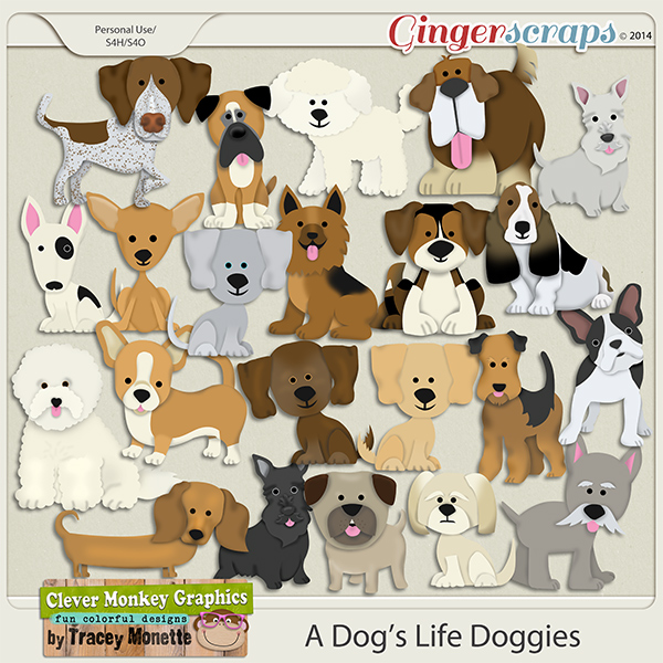 A Dog's Life Doggies by Clever Monkey Graphics