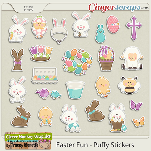 Easter Fun Puffy Stickers by Clever Monkey Graphics