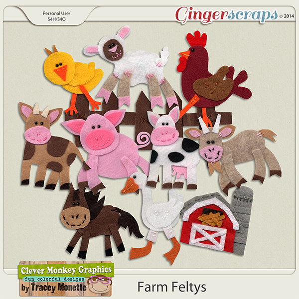 Farm Feltys by Clever Monkey Graphics