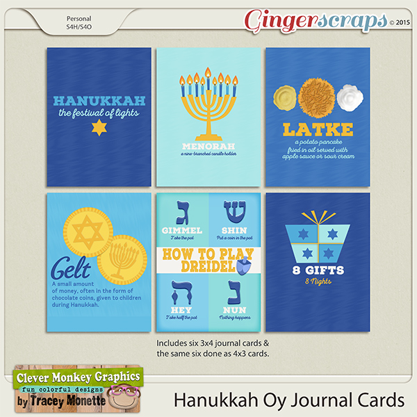 Hanukkah Oy Journal Cards by Clever Monkey Graphics