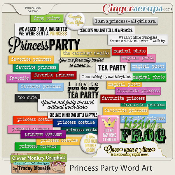 Magical Princess Party Word Art by Clever Monkey Graphics