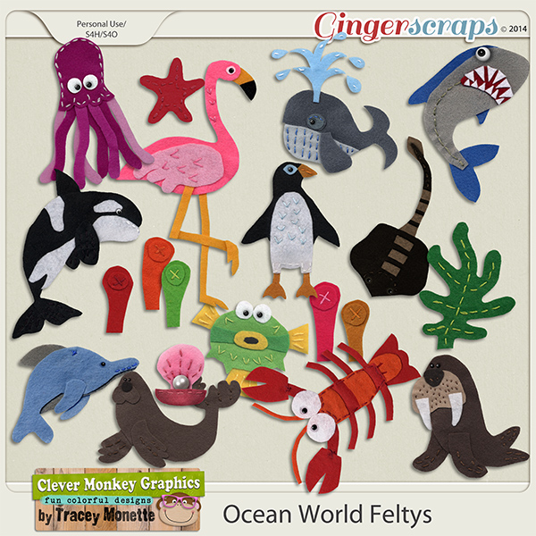 Ocean World Feltys by Clever Monkey Graphics