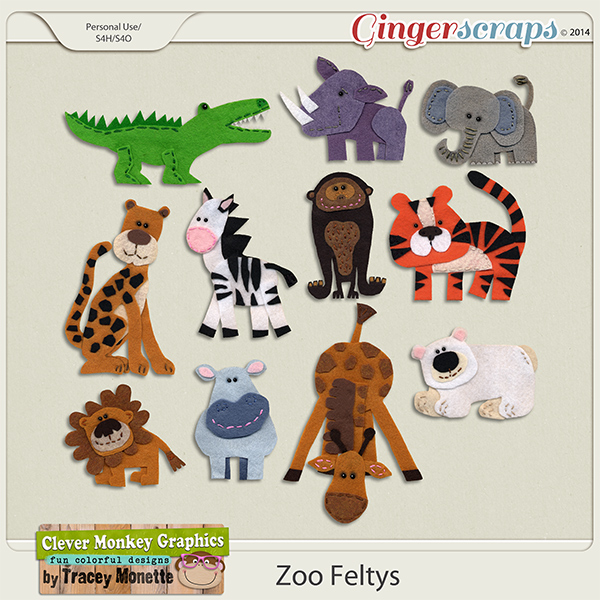 Zoo Feltys by Clever Monkey Graphics