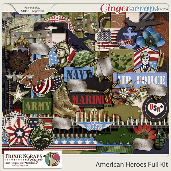 American Heroes Full Kit by Trixie Scraps Designs