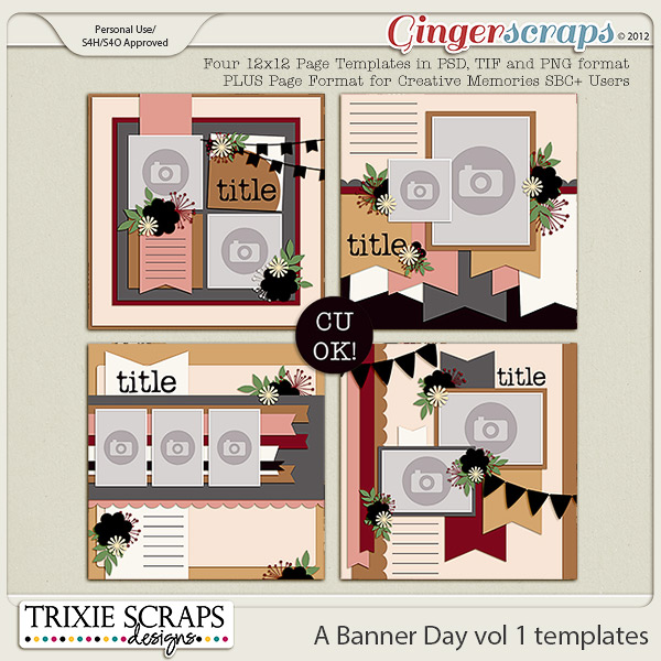 A Banner Day vol 1 template pack by Trixie Scraps Designs
