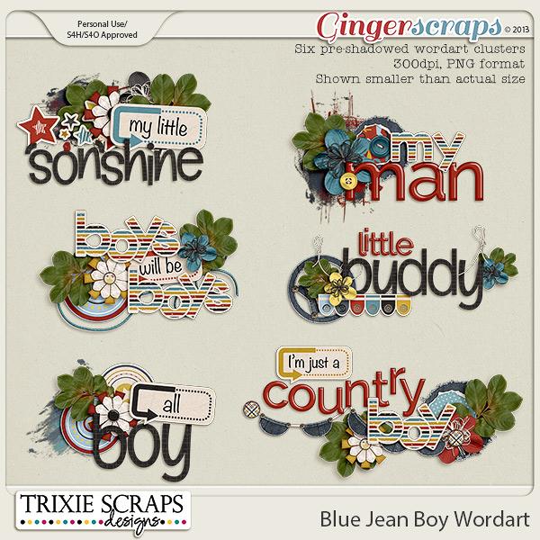 Blue Jean Boy Wordart by Trixie Scraps Designs