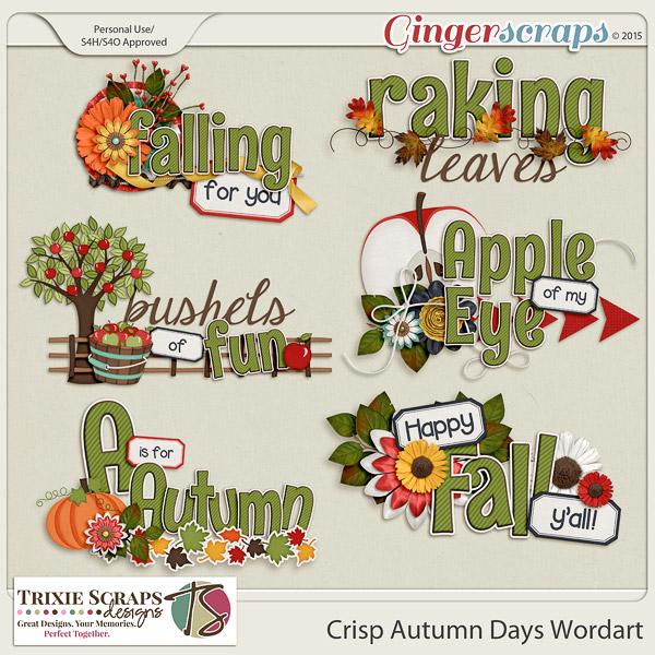 Crisp Autumn Days Wordart by Trixie Scraps Designs