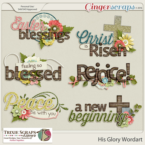 His Glory Wordart by Trixie Scraps Designs