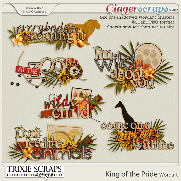 King of the Pride Wordart by Trixie Scraps Designs