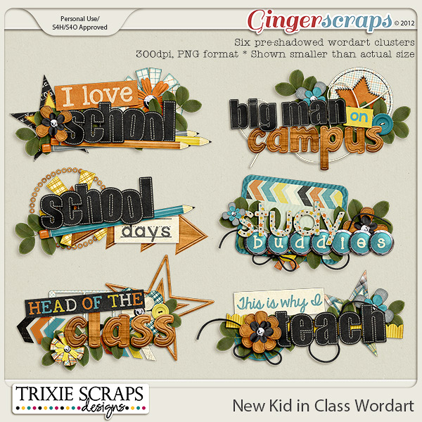 New Kid in Class Wordart by Trixie Scraps Designs