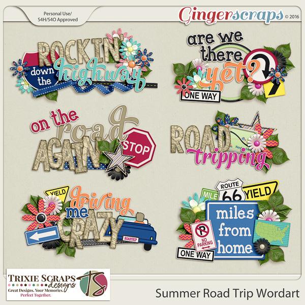 Summer Road Trip Wordart by Trixie Scraps Designs