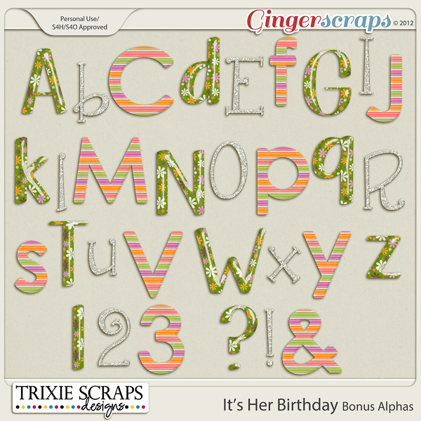 It's Her Birthday Bonus Alphas by Trixie Scraps Designs