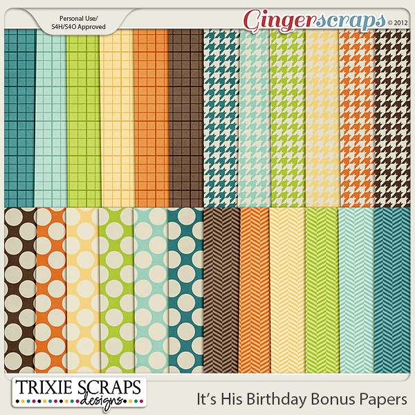 It's His Birthday Bonus Papers by Trixie Scraps Designs