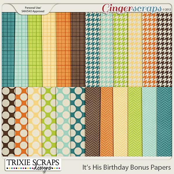It's His Birthday Bonus Papers by Trixie Scraps Designs