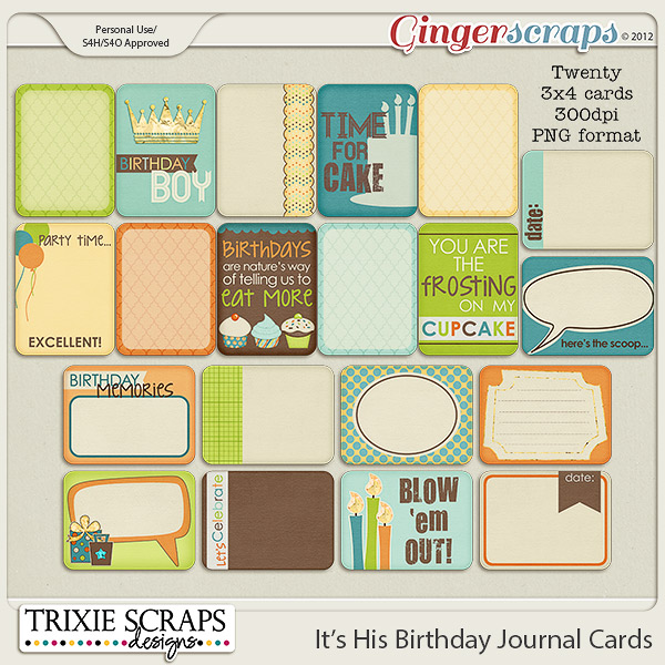 It's His Birthday Journal Cards by Trixie Scraps Designs