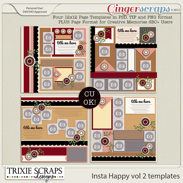 Insta Happy vol 2 template pack by Trixie Scraps Designs