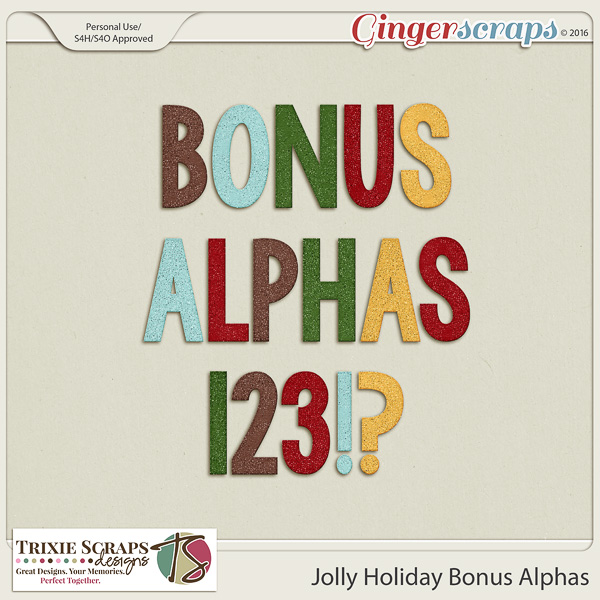 Jolly Holiday Bonus Alphas by Trixie Scraps Designs