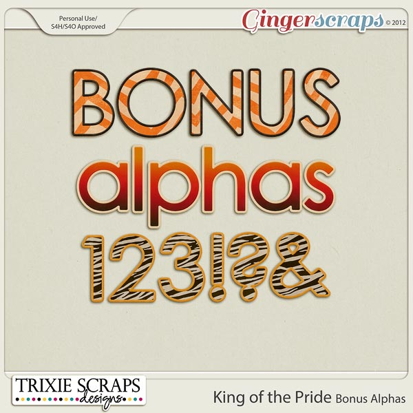 King of the Pride Bonus Alphas by Trixie Scraps Designs