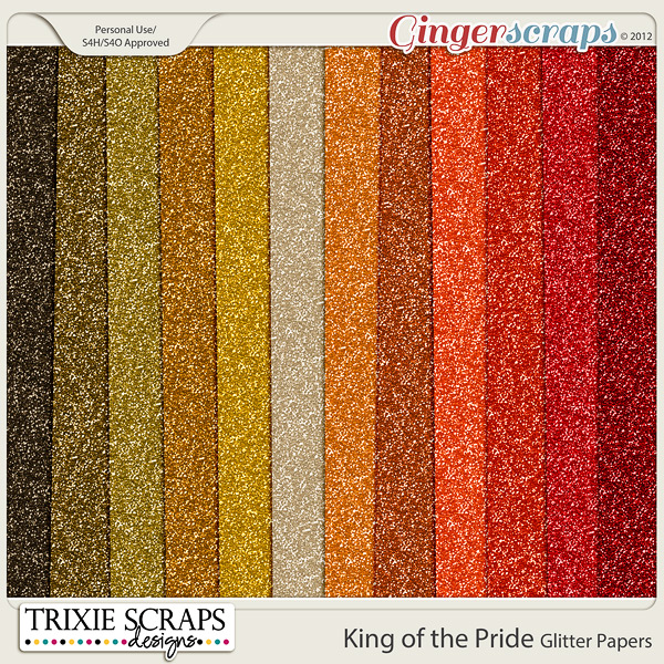 King of the Pride Glitter Papers by Trixie Scraps Designs