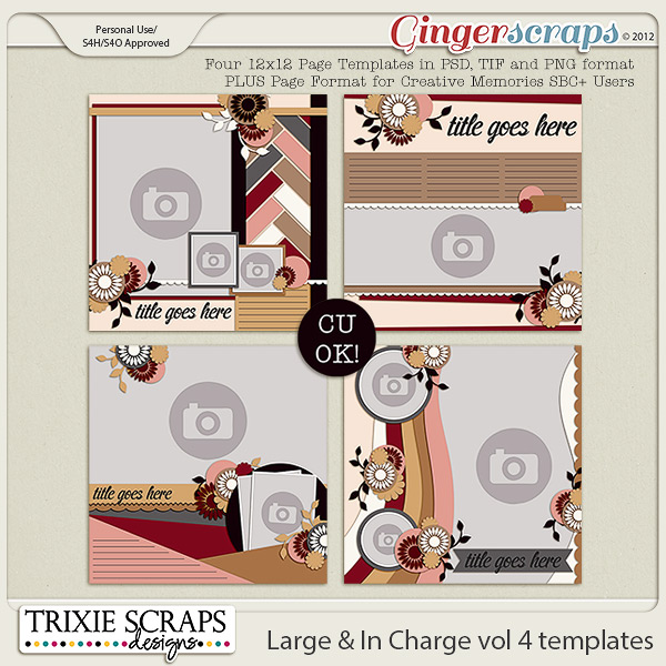 Large & In Charge vol 4 Template Pack by Trixie Scraps Designs