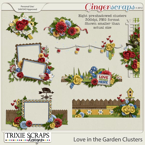 Love in the Garden Clusters by Trixie Scraps Designs