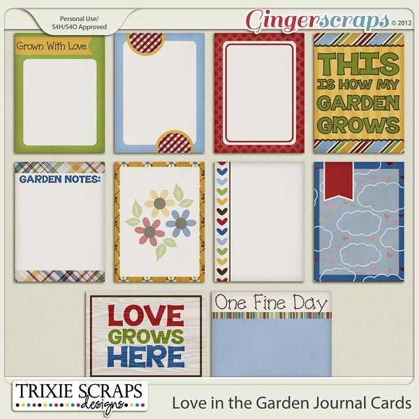 Love in the Garden Journal Cards by Trixie Scraps Designs