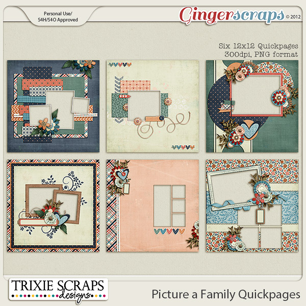 Picture a Family Quickpages by Trixie Scraps Designs
