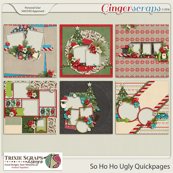 So Ho Ho Ugly Quickpages by Trixie Scraps Designs