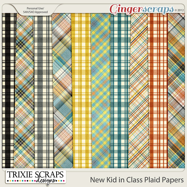 New Kid in Class Plaid Papers by Trixie Scraps Designs