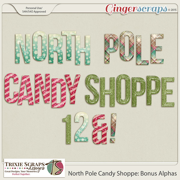 North Pole Candy Shoppe Bonus Alphas by Trixie Scraps Designs
