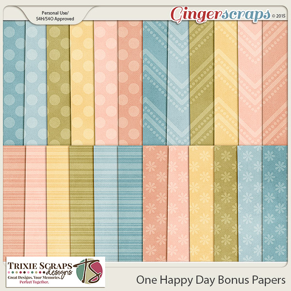 One Happy Day Bonus Papers by Trixie Scraps Designs