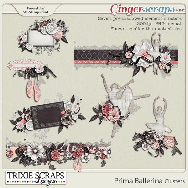 Prima Ballerina Clusters by Trixie Scraps Designs