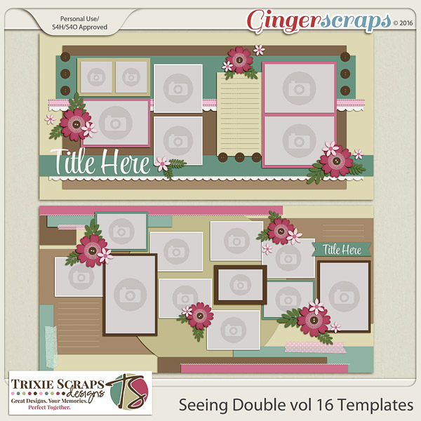 Seeing Double vol 16 Template Pack by Trixie Scraps Designs
