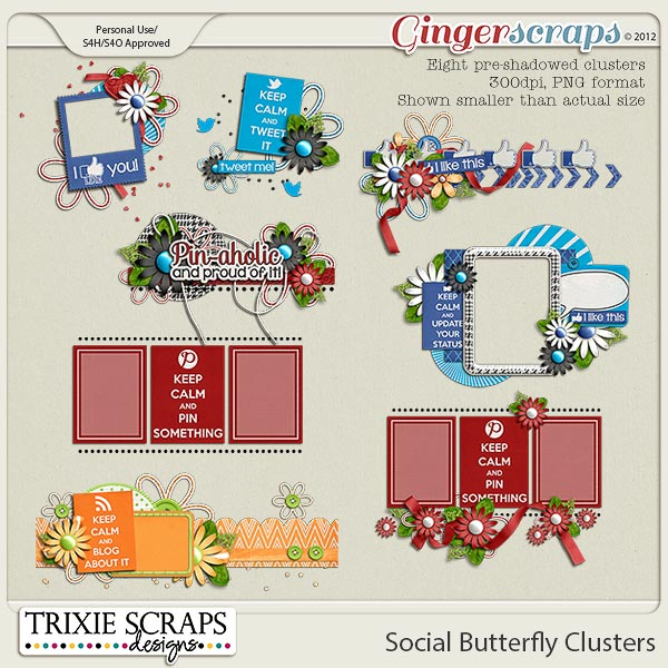 Social Butterfly Clusters by Trixie Scraps Designs