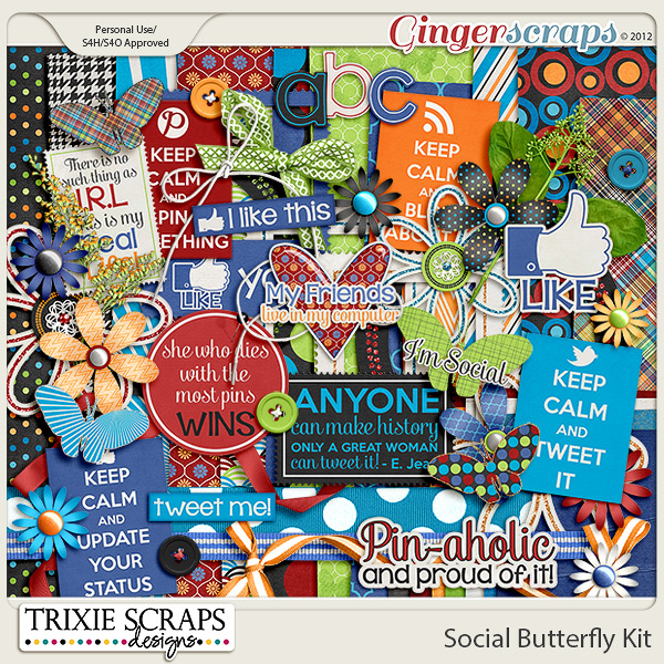Social Butterfly Full Kit by Trixie Scraps Designs