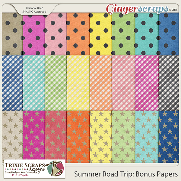 Summer Road Trip Bonus Papers by Trixie Scraps Designs