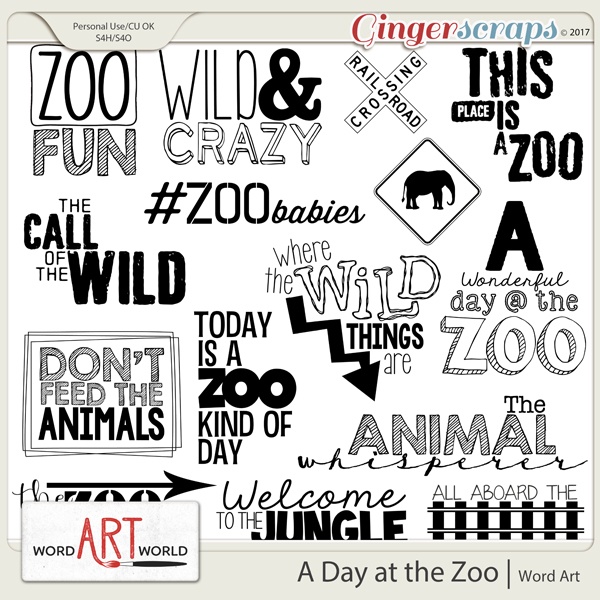 A Day at the Zoo Word Art